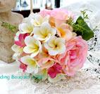 s042・ピンクのバラとプルメリアのブーケ