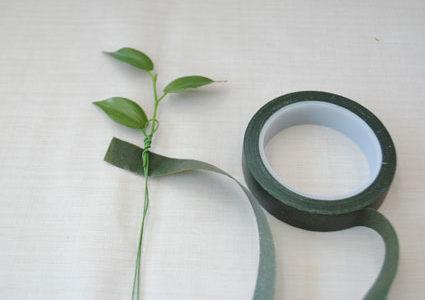 グリーン葉ワイヤリング方法:ブーケ作り方講座