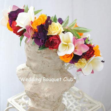バラとプルメリアのカラフル花冠:造花