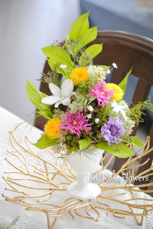 仏花アレンジメントのプリザーブドフラワー