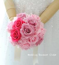 【プリザーブドフラワーブーケ】ピンクのラウンドブーケ